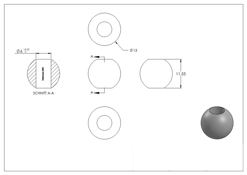 Ø 4 mm Bohrung Stahl S235JR, Massivkugel Stahl Ø 10 mm Kopf roh Annietkugel