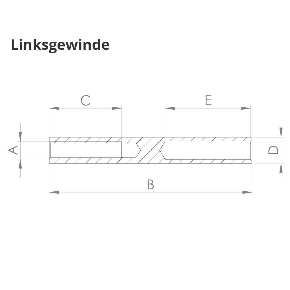 Gewindeterminal mit InnengewindeLinksgewindeFür Seil von Ø 6 mm V2A