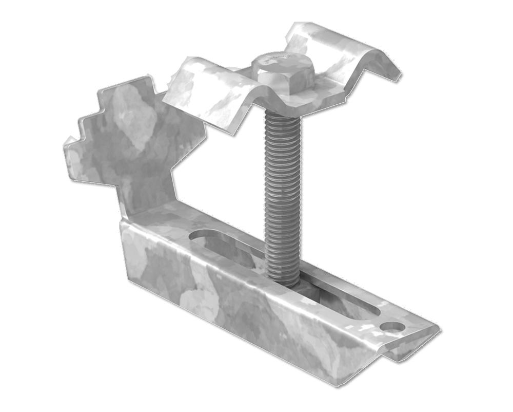 Gitterrost-Klemme   Rosthöhe 30mm   MW: (30 mm / 30 mm)    S235JR / ST37 – feuerverzinkt