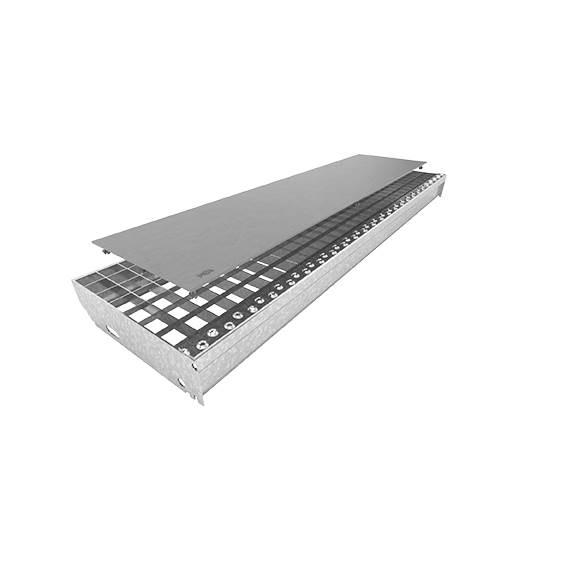 Gitterrostauflage aus Kunststoff | glatt | Maße: 800x200 mm | Schiefergrau