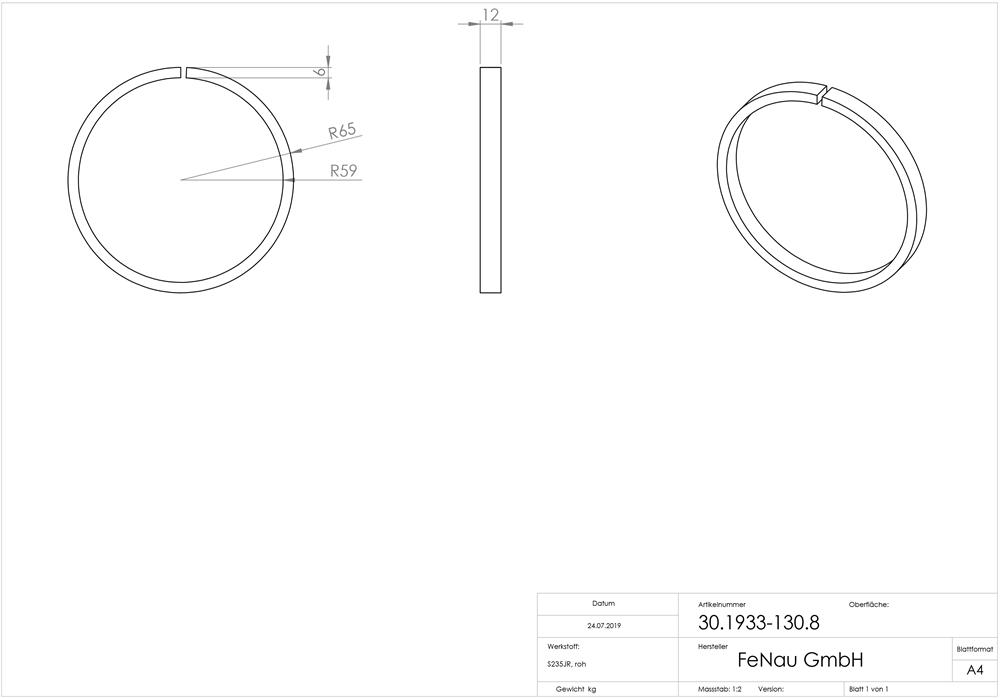 roh Ø 130 mm Stahl S235JR Ring Schmiedeeisen schweißbar Material 12 mm Außen