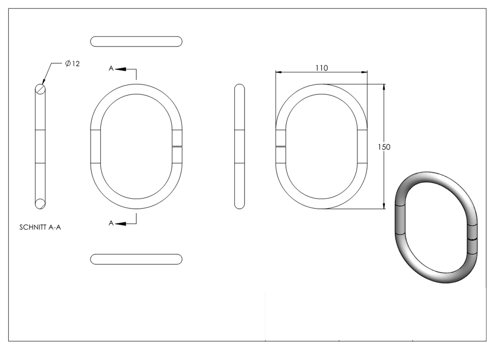 Ring Stahlring Schmiedeeisen 12 x 12 mmAußen-Ø 115 mmStahl S235JR roh