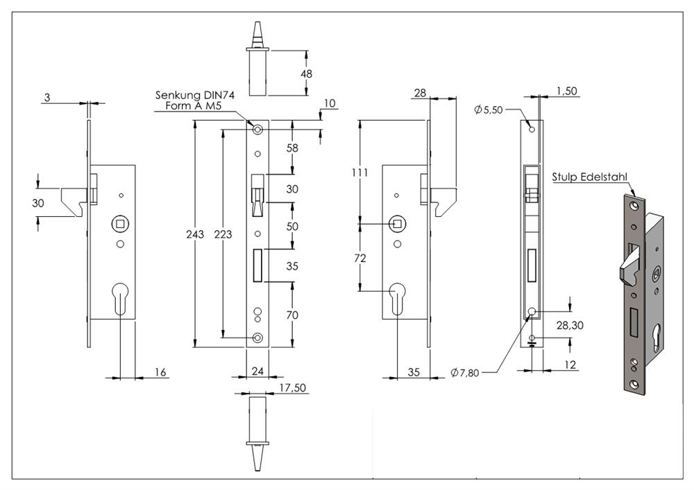 22 mm Stahl verzinkt S235JR Rohrprofilschloss Einsteckschloss Industrie Dornmaß
