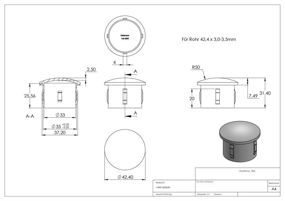 Rohrstopfen Stahlstopfen flach mit M8 für Ø 42,4x2,5-2,9 mm