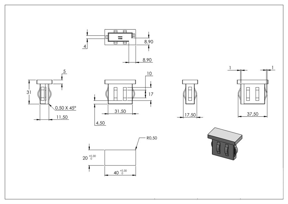 Rohrstopfen Stahlstopfen flach mit M8 für Rohr 40x20x1,5-2,0 mm