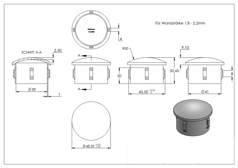 roh Stahlstopfen Rohrstopfen leicht gewölbt für Ø 60,3 x 1,8-2,2 mm Stah S235JR