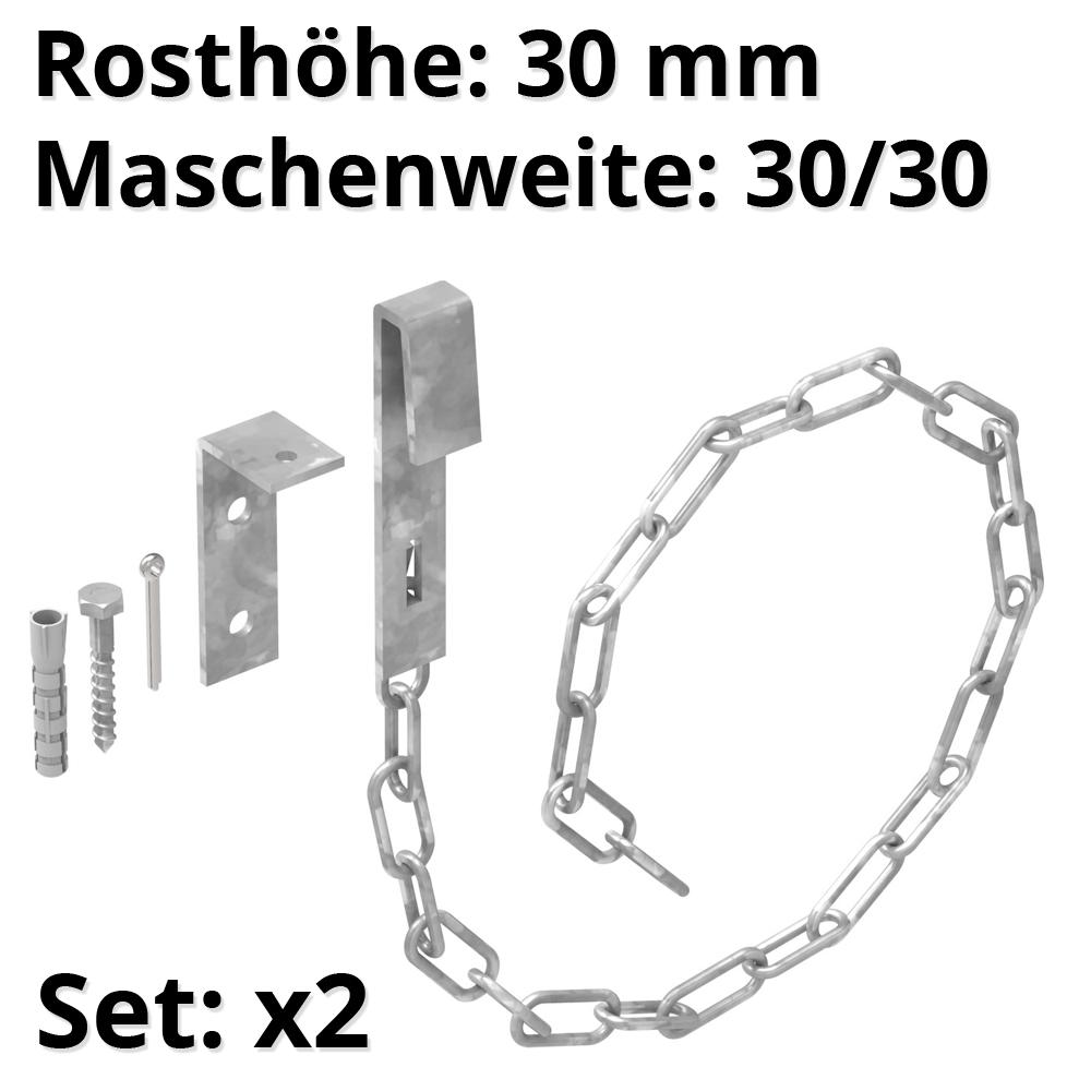 1 Paar Sicherheitsketten für Gitterroste | MW 30/30 mm | aus St37, feuerverzinkt