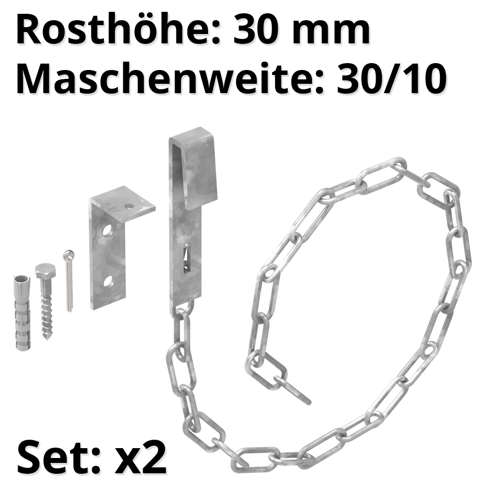 1 Paar Sicherheitsketten für Gitterroste   MW 30/10 mm   aus St37, feuerverzinkt