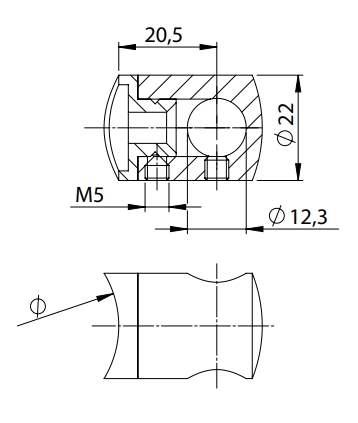 Querstabhalter Ø 22 mm | mit Bohrung: 12,2 mm | für Anschluss: flach | V2A