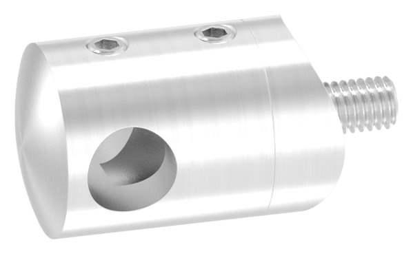 Querstabhalter Ø 22 mm   Anschluss: 33,7 mm   mit Bohrung: 10,2 mm - 14,2 mm   V2A