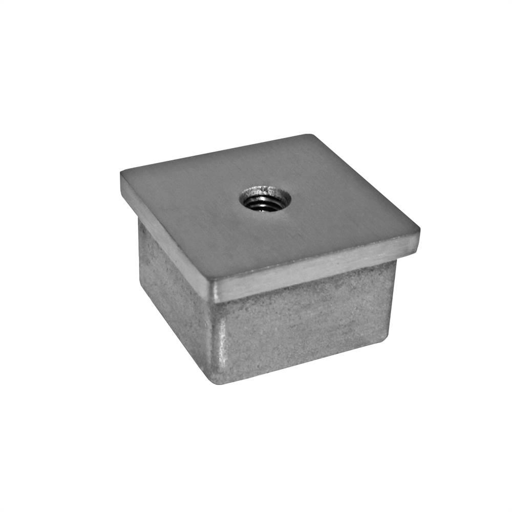 Flachkappe zum Kleben   mit Gewinde: M8   für Rohr: 50x50x2 mm   V2A