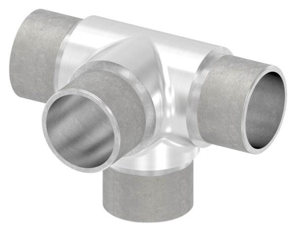 Kreuzstück mit unterschiedlichen Abgängen, für Rohr Ø 33,7x2,0 mm V2A