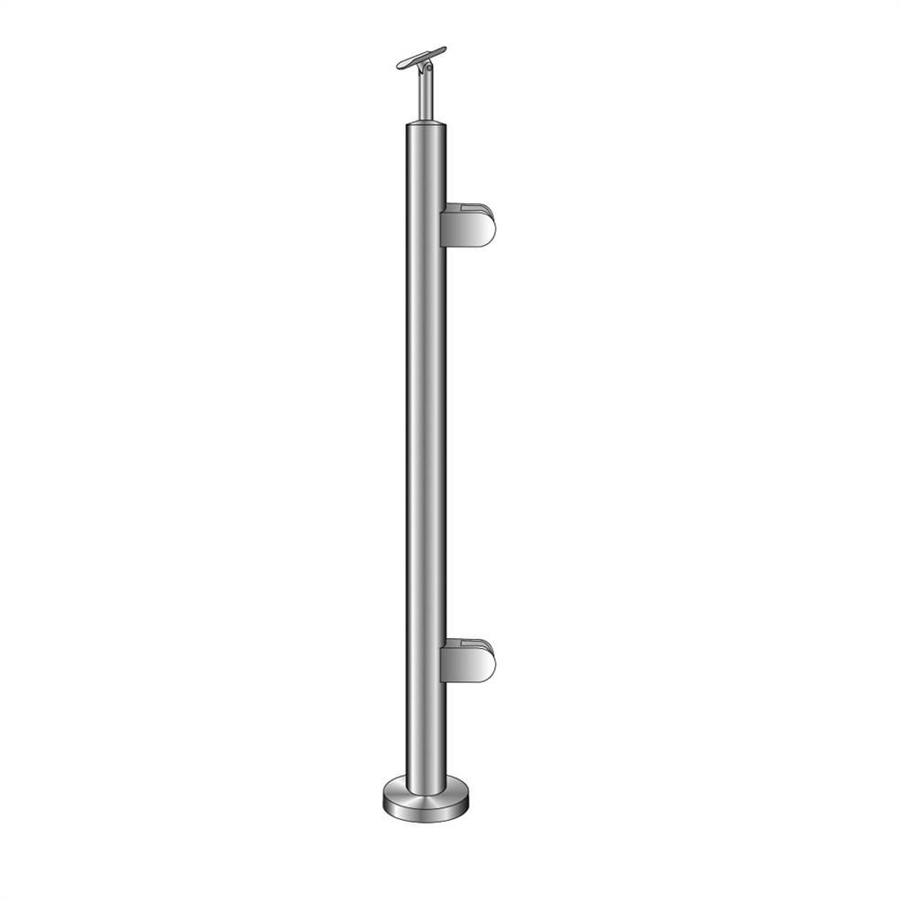Geländerpfosten | Endpfosten rechts | für aufgesetzte Montage | Länge: 1100mm | V2A