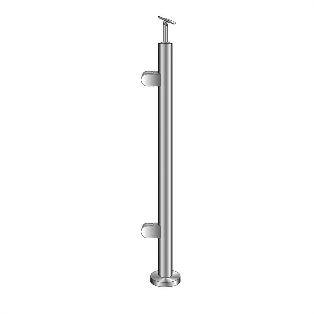 Geländerpfosten | Endpfosten links | Länge: 1100 mm | für aufgesetzte Montage | V2A