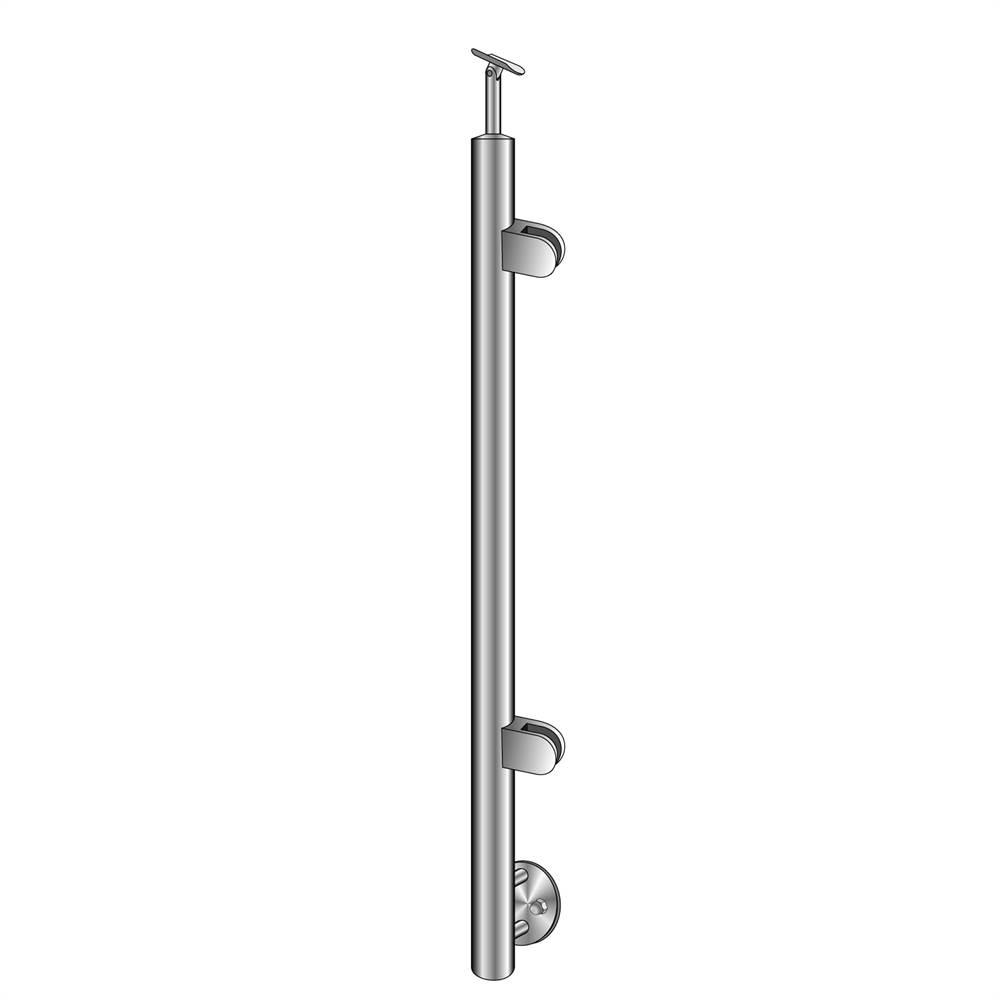 Geländerpfosten | Endpfosten rechts | Länge: 1000 mm | für seitliche Montage | V2A