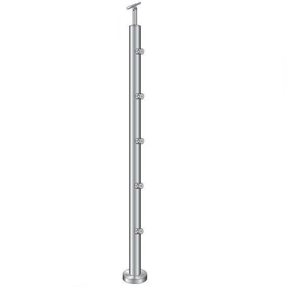Geländerpfosten   Treppenpfosten   Länge: 1000 mm   für aufgesetzte Montage   V2A
