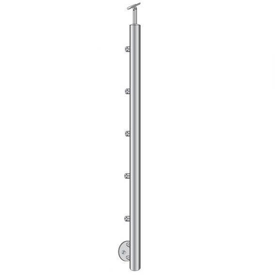 Geländerpfosten   Treppenpfosten   Länge: 1000 mm   für seitliche Montage   V2A
