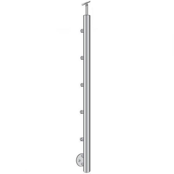 Geländerpfosten   Länge: 1000 mm   für seitliche Montage   V2A