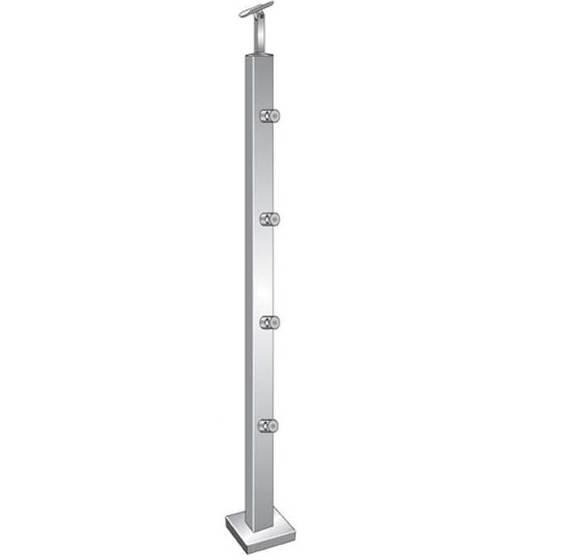 Geländerpfosten   Treppenpfosten   Länge: 900 mm   für aufgesetzte Montage   V2A