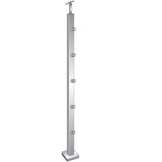 Geländerpfosten | Treppenpfosten | Länge: 1000 mm | für aufgesetzte Montage | V2A