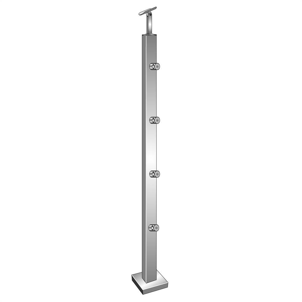 Geländerpfosten   Länge: 900 mm   für aufgesetzte Montage   V2A