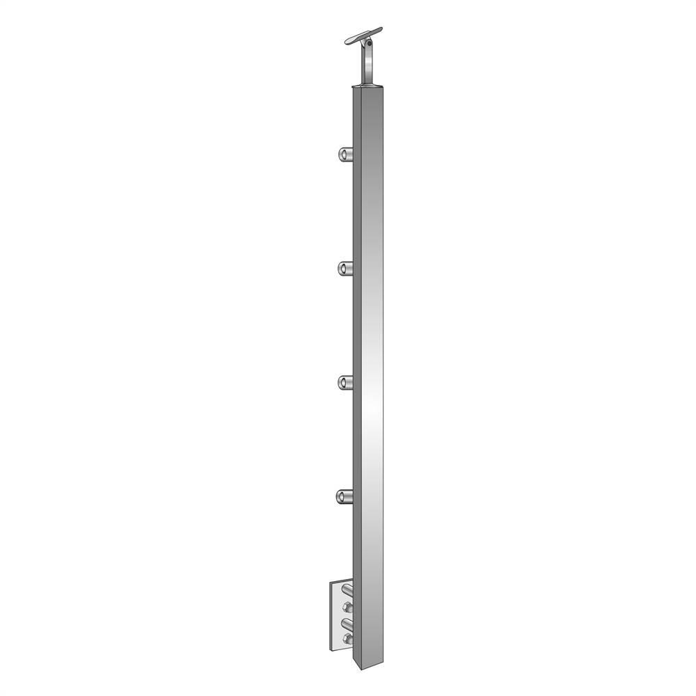Geländerpfosten   Länge: 900 mm   für seitliche Montage   V2A