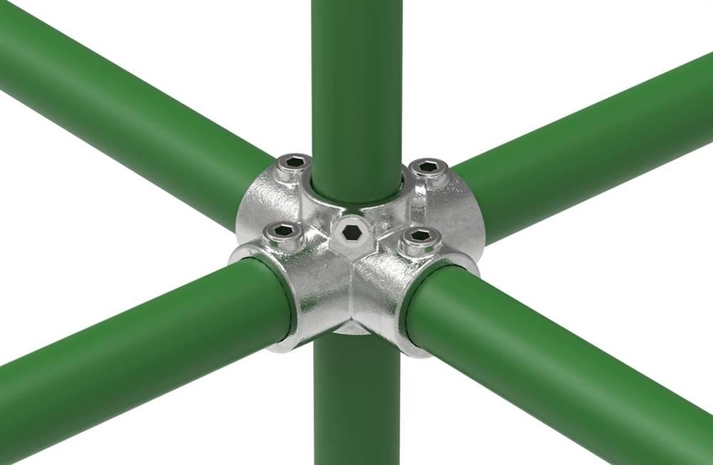 Rohrverbinder   Kreuzstück für Stützrohr   158   21,3 mm - 60,3 mm   1/2 - 2   Temperguss u. Elektrogalvanisiert