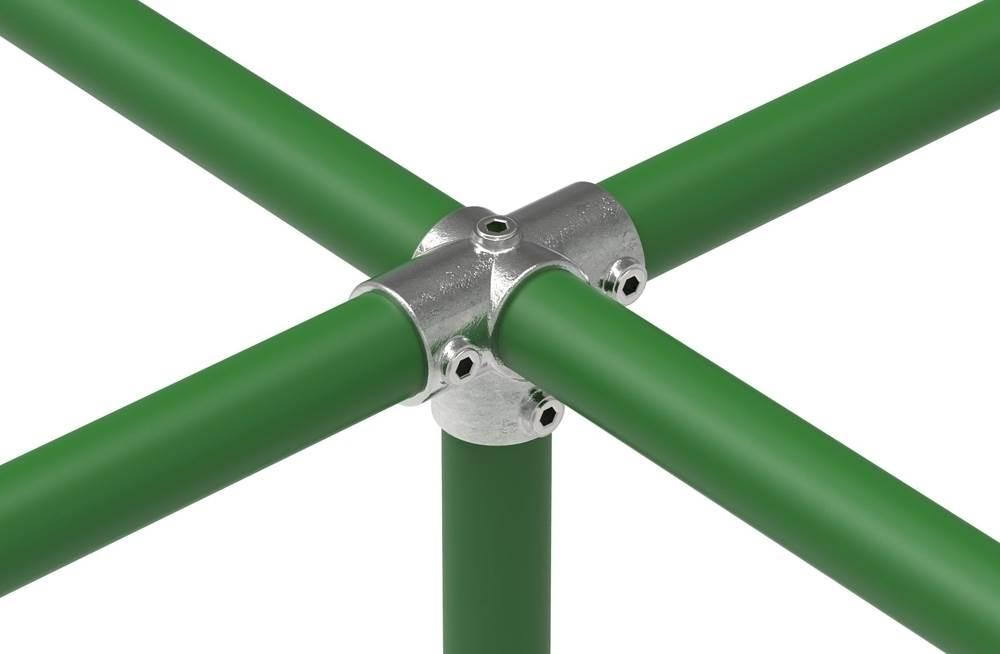 Rohrverbinder   T-Stück für Stützrohr   176   21,3 mm - 60,3 mm   1/2 - 2   Temperguss u. Elektrogalvanisiert