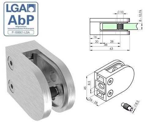Glasklemme 63x45x28 mm V2A für Anschluss flach   Gummi 10,00 mm Glas