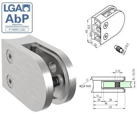 Glasklemme 63x45x28 mm V2A für Anschluss Ø 42,4 mm   Gummi 8,00 ESG