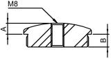 Stopfen leicht gewölbt V2A Vollmaterial mit M8 für Ø 42,4x2,0 mm