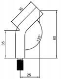Stift 60x14 mm V2A 135° gebogen mit M8x15 mm zum Anschweißen