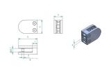 Glasklemme 50x40x26 mm für Anschluss flach V2A