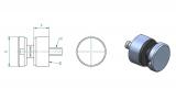 Glas-Punkthalter Ø 30 mm Zink für Anschluss flach/gerade