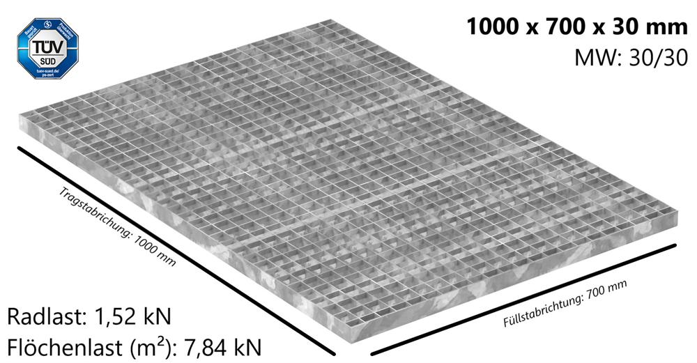 Industrie-Gitterrost | Maße: 1000x700x30 mm; MW 30/30 mm; 30/2 mm | S235JR (St37-2), im Vollbad feuerverzinkt