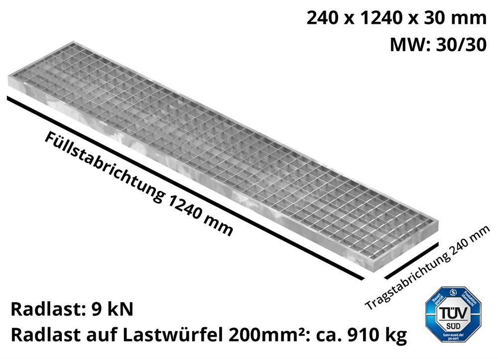 Garagen-Gitterrost | Maße:  240x1240x30 mm 30/30 mm | aus S235JR (St37-2), im Vollbad feuerverzinkt