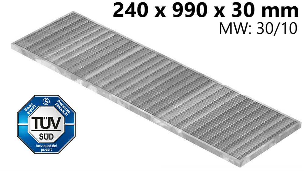 Garagen-Gitterrost | Maße:  240x990x30 mm 30/10 mm | aus S235JR (St37-2), im Vollbad feuerverzinkt