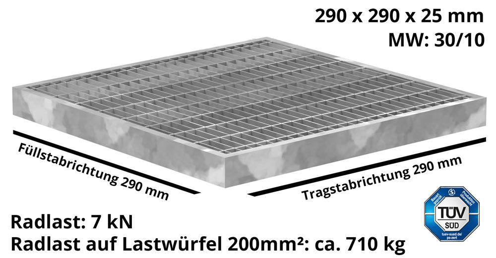 Garagen-Gitterrost | Maße:  290x290x25 mm 30/10 mm | aus S235JR (St37-2), im Vollbad feuerverzinkt