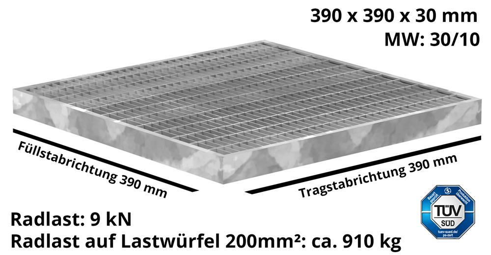 Garagen-Gitterrost | Maße:  390x390x30 mm 30/10 mm | aus S235JR (St37-2), im Vollbad feuerverzinkt