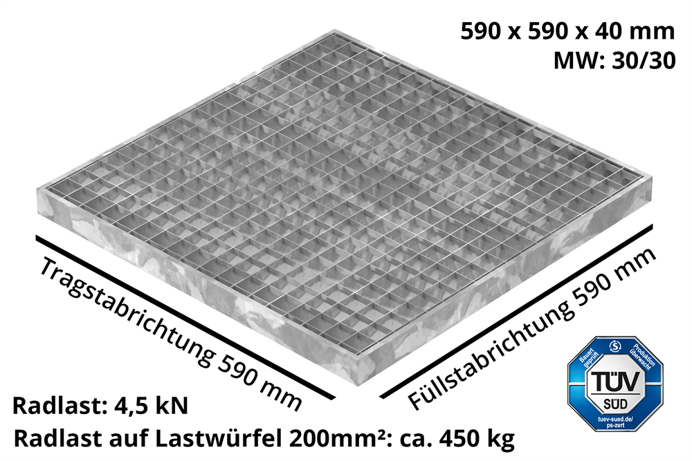Garagen-Gitterrost | Maße:  590x590x40 mm 30/30 mm | aus S235JR (St37-2), im Vollbad feuerverzinkt