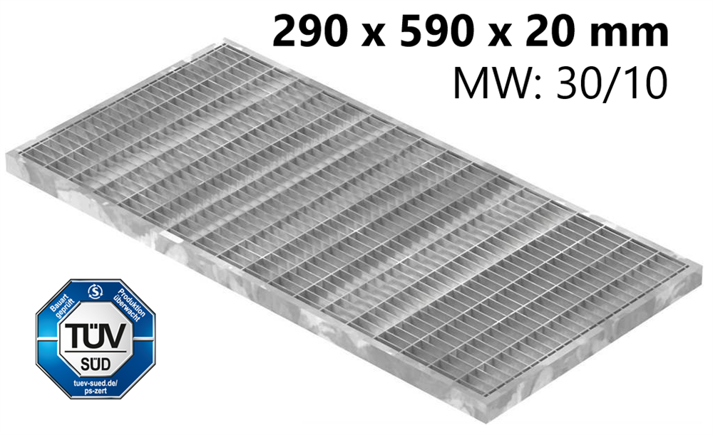 Lichtschachtrost Baunormrost   Maße:  290x590x20 mm 30/10 mm   aus S235JR (St37-2), im Vollbad feuerverzinkt