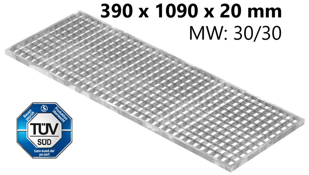 Lichtschachtrost Baunormrost   Maße:  390x1090x20 mm 30/30 mm   aus S235JR (St37-2), im Vollbad feuerverzinkt