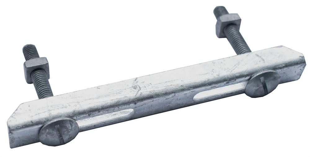 Doppelklemme für Rosthöhe 30 mm   MW 30/10 mm   aus St37, feuerverzinkt