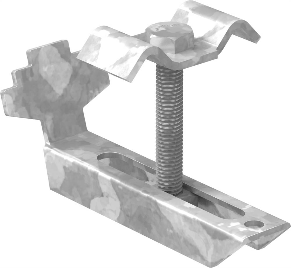 Gitterrostklemme für Rosthöhe 30 mm   MW 20/20 mm   aus St37, feuerverzinkt