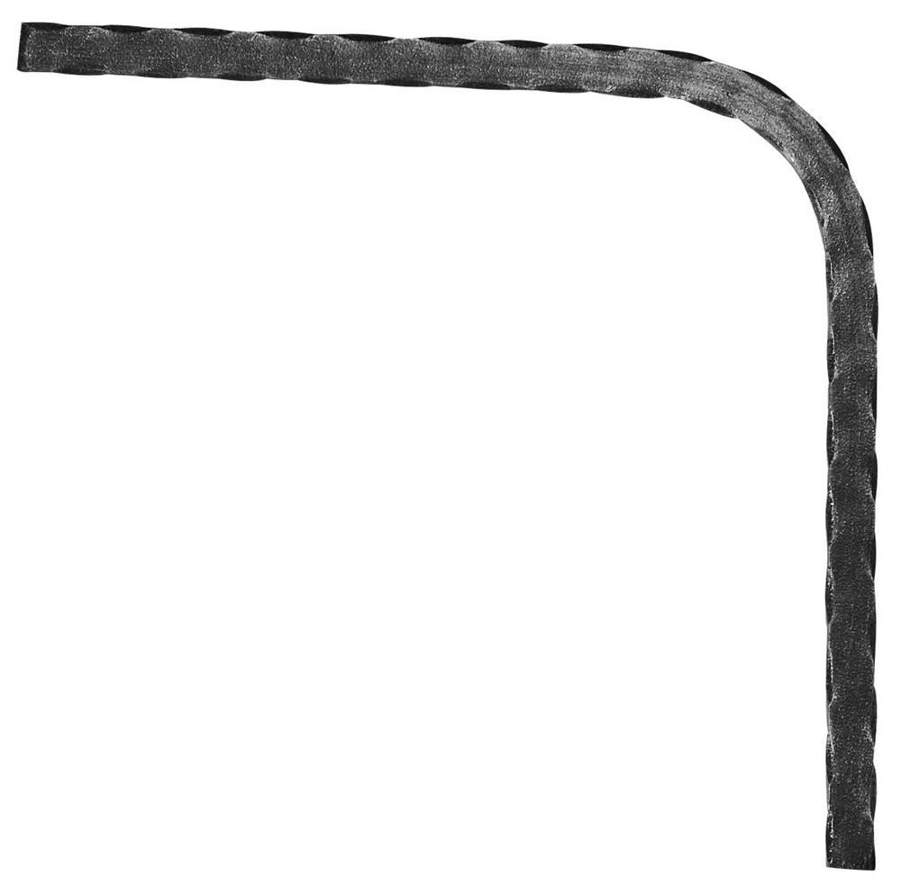Untergurt-Bogen 90° | Material: 20x8 mm | gehämmert | Stahl (Roh) S235JR
