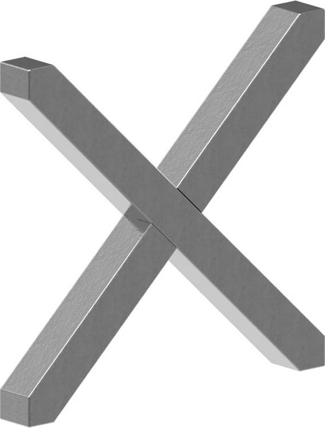 Kreuz | Material: 12x12 mm | Maße: 100x100 mm | Stahl S235JR, roh