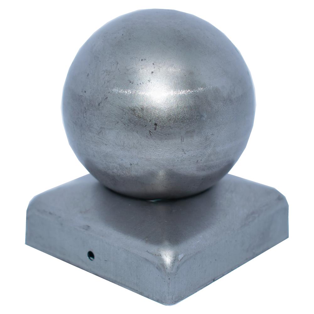 Pfeilerbedecker für Quadratrohr | 80x80 mm | mit Kugel Ø 80 mm | Stahl (Roh) S235JR