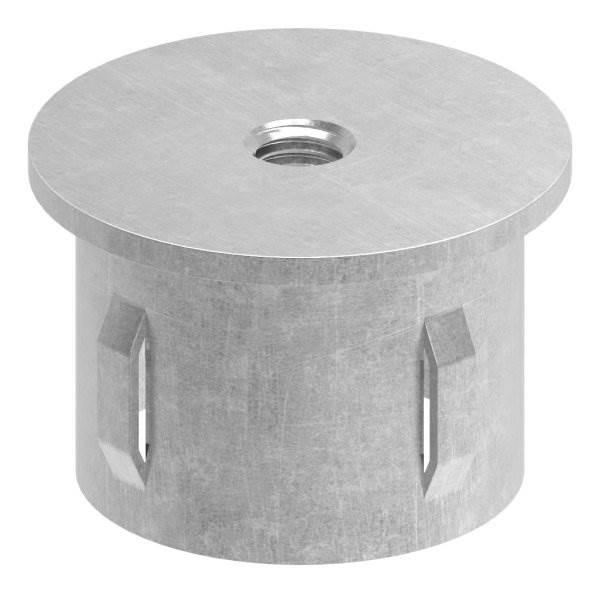 Stahlstopfen flach   mit M8   für Rundrohr Ø 42,4x2,5-2,9 mm   Stahl S235JR, roh