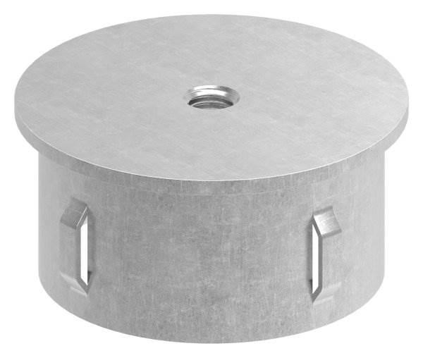 Stahlstopfen flach   mit M8   für Rundrohr Ø 60,3x1,8-2,2 mm   Stahl S235JR, roh