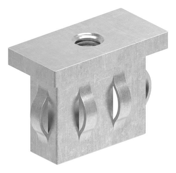 Stahlstopfen flach   mit M8   für Rohr 40x20x1,5-2,0 mm   Stahl S235JR, roh